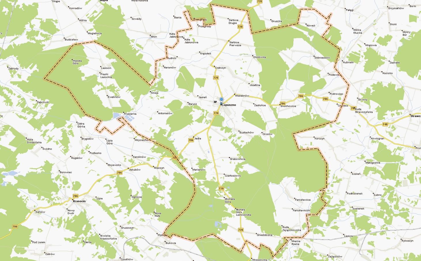 Mapa Gminy Łopuszno / mapa.targeo.pl